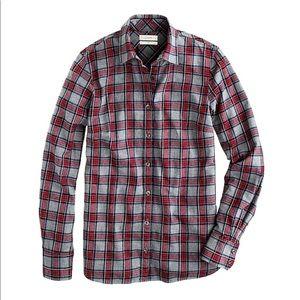 J. Crew boy fit flannel shirt in grey tartan plaid
